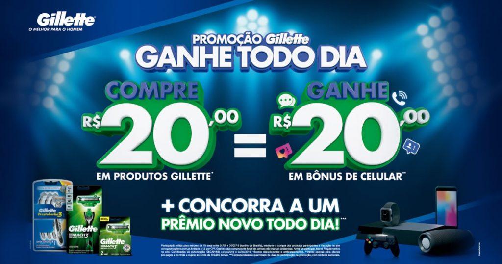 Com Gillette ganhe R$20 em créditos para celular e outros prêmios