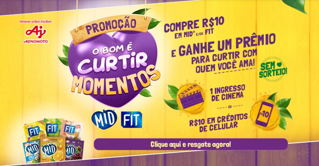 Promoção MID e FIT: ganhe 1 ingresso cinema ou R$10 credito celular